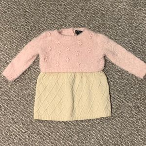 Fancy Fuzzy Knit Sweater Dress with Tights